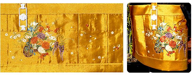 金襴 五条 刺繍織 冬用 「金つづれ地に花車」