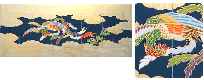 金襴 五条 刺繍織 冬用 「雲に桐 鳳凰」
