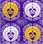 古代紫色 堅地 銀鼠色亀甲昇龍瑞雲模様