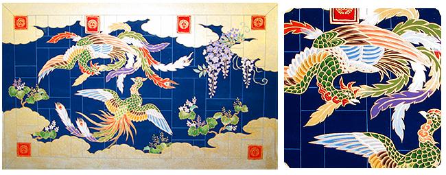 金襴 七条 刺繍織 「雲に藤と桐の有職二羽鳳凰」